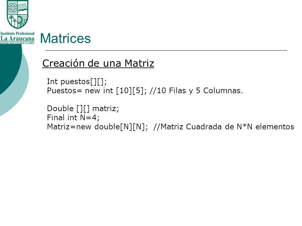 Matrices Creación de una Matriz Int puestos[][];